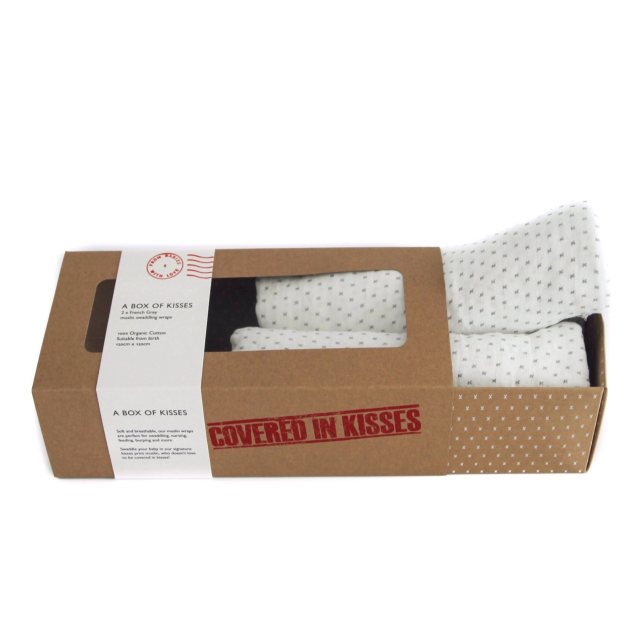 From Babies with Love A Box Of Kisses - French Grey Kisses Organic Swaddles