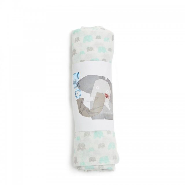 From Babies with Love Elephant Family Organic Grey-Mint Muslin Swaddle