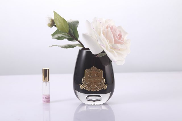 Cote Noire Cote Noire Luxury Range Pink Blush Tea Rose in Black Glass