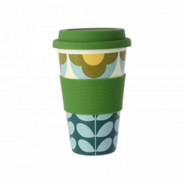 Orla Kiely Orla Kiely Summer Flower Stem Travel Mug Blue & Yellow