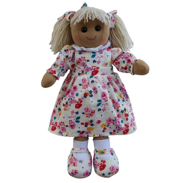 Powell Craft Rag Doll with Floral White Dress 40cm