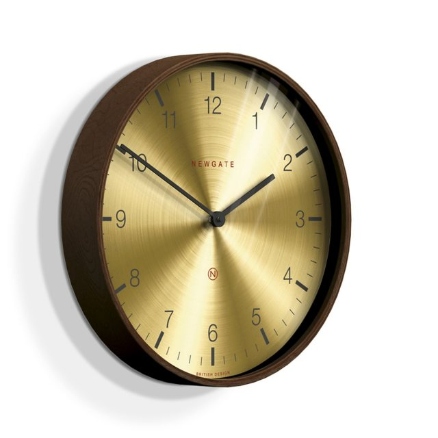 Newgate Mr Clarke Dark Wood Finish Brass Dial