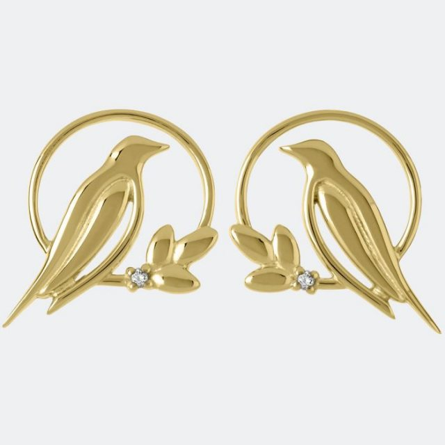 Sara Miller London Sara Miller Diamond Bird Stud Earrings Gold