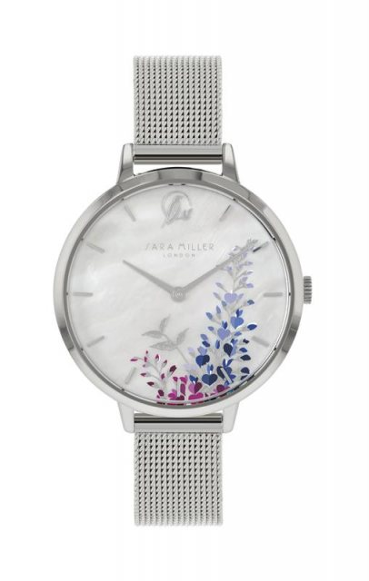 Sara Miller London Sara Miller Wisteria Watch in Silver and White