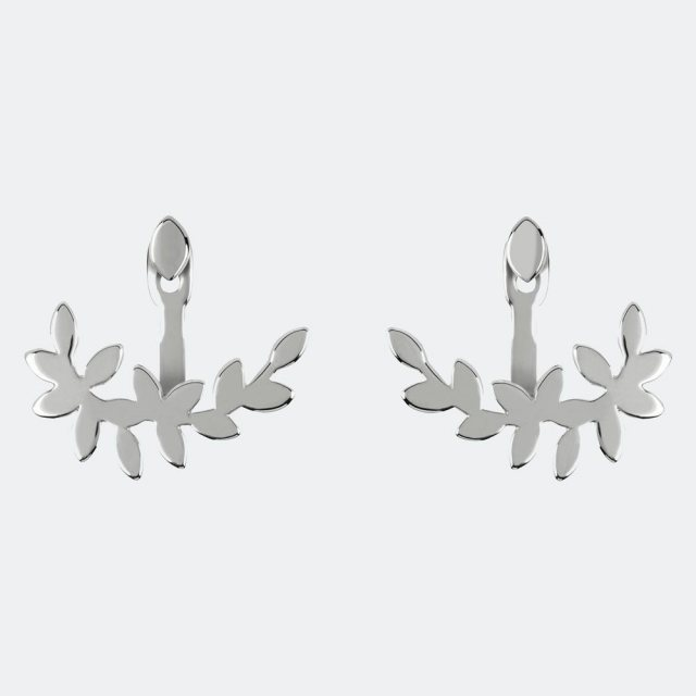 Sara Miller London Sara Miller Silver Leaf Front and Back Earrings
