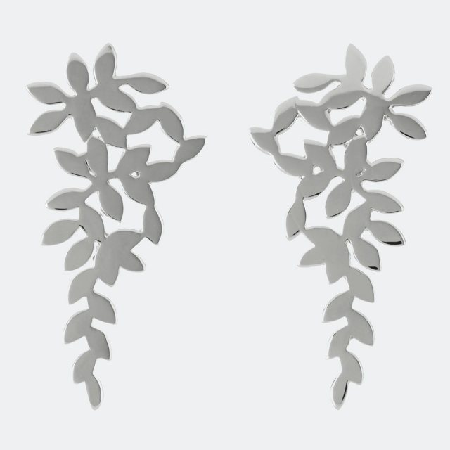 Sara Miller London Sara Miller Silver Leaf Falling Cluster Earrings