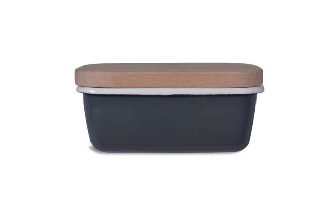 Garden Trading Enamel Butter Dish in Charcoal with Beech Lid