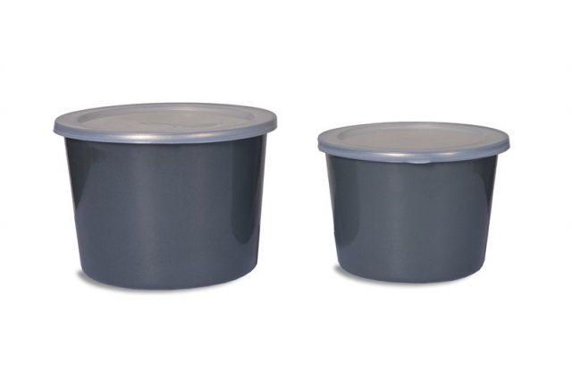 Garden Trading Set of 2 Enamel Food Pots in Charcoal