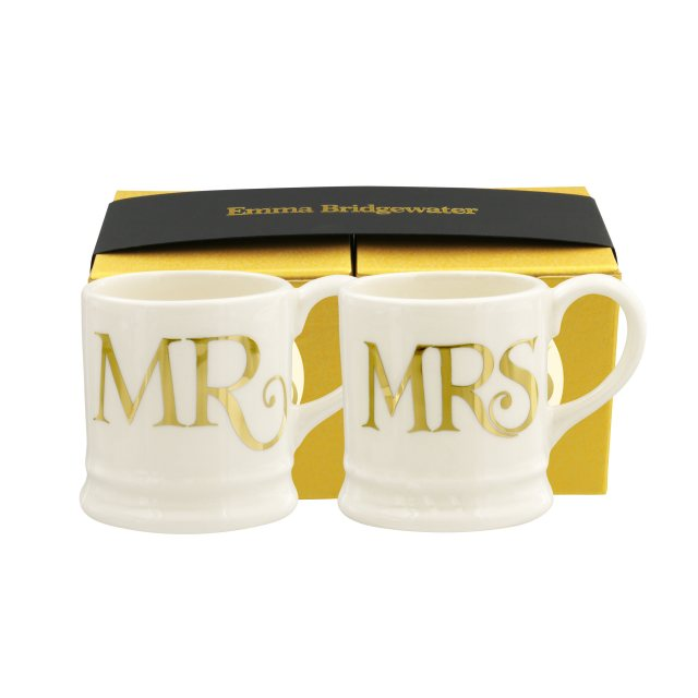 Emma Bridgewater Emma Bridewater Gold Toast Set Of 2 Tiny Mug Decorations