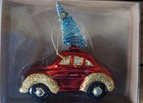 Christmas Car Hanging Glass Ornament