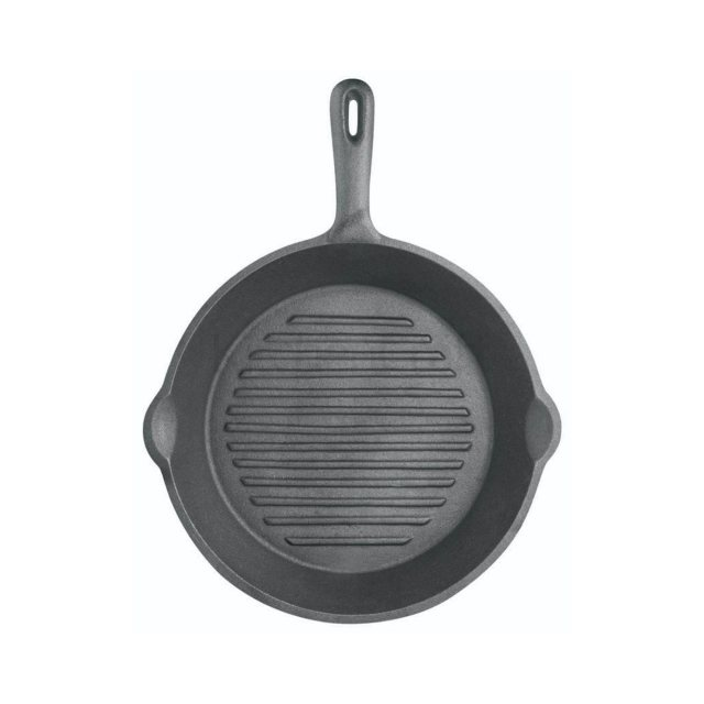 Kitchen Craft Cast Iron Round Grill Pan Ribbed Base 24cm