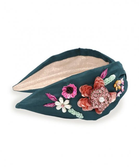Embroidered Floral Headband Teal