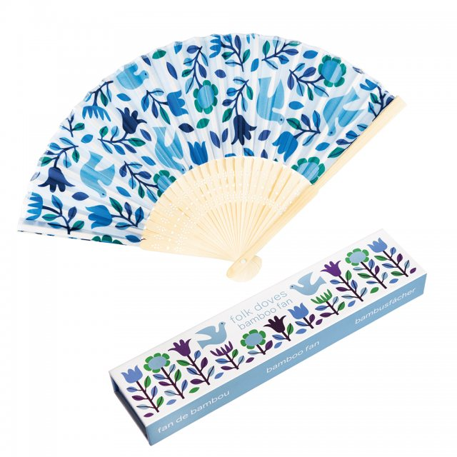 Rex London Folk Doves Bamboo Fan
