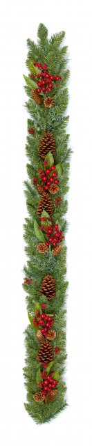 Natural Red Berry Garland With Pine Cones 1.8M