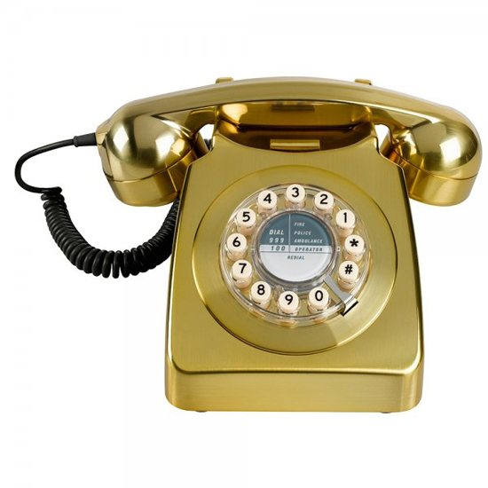 Wild & Wolf 1950's Retro Classic Brass Brushed Phone