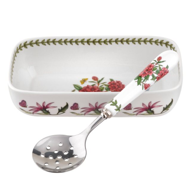 Portmeirion Botanic Garden Cranberry Dish With Slotted Spoon