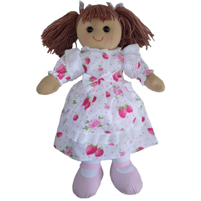 Powell Craft Rag Doll with Strawberry Dress 40cm
