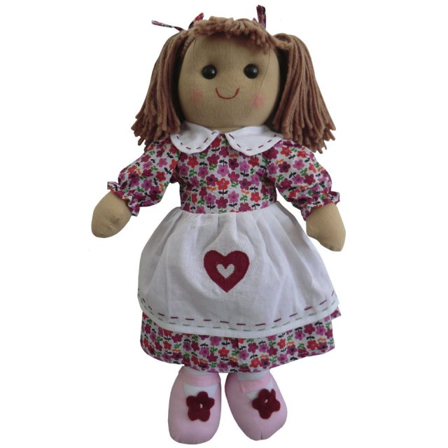 Powell Craft Rag Doll with Floral Dress and Red Heart Apron 40c