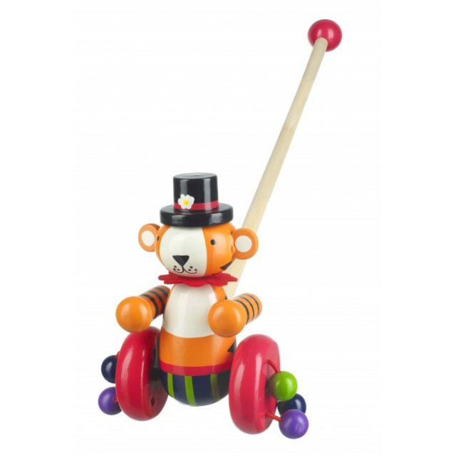 Orange Tree Circus Tiger Wooden Push Along