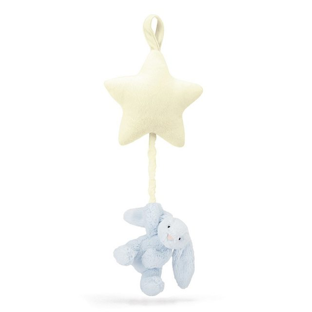 Jellycat Soft Toys Jellycat Bashful Blue Bunny Star Musical Pull