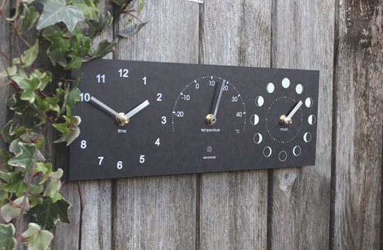 Eco Moon, Thermometer, and Time Clock