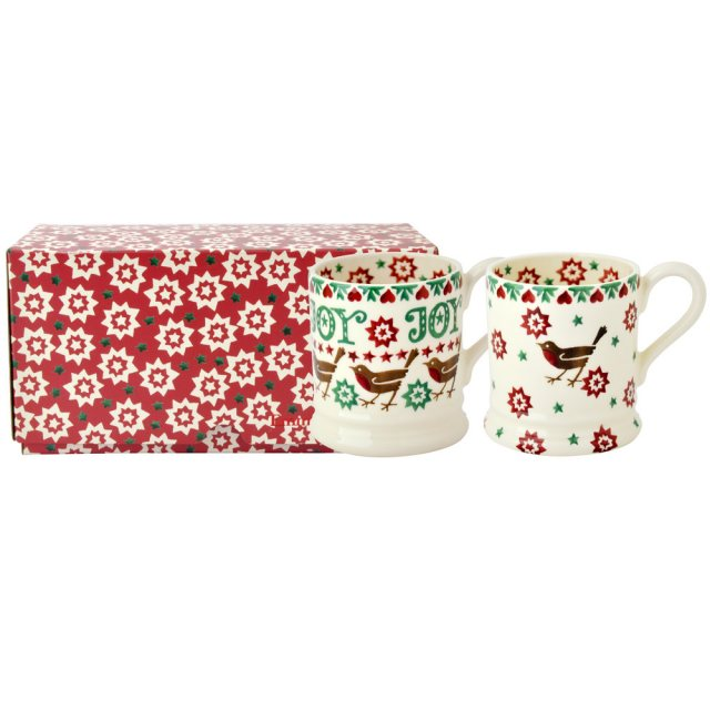 Emma Bridgewater Emma Bridgewater Joy Robin set of 2 1/2pt Mug Boxe