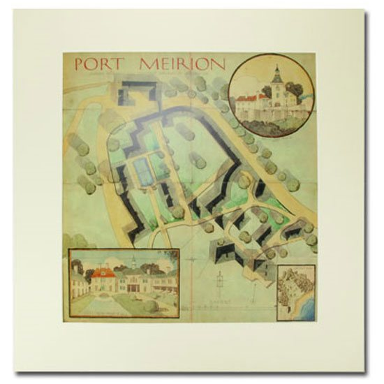 Portmeirion Draft Plan of Portmeirion Village: Mounted Architectural Design by Clough Williams-Ellis
