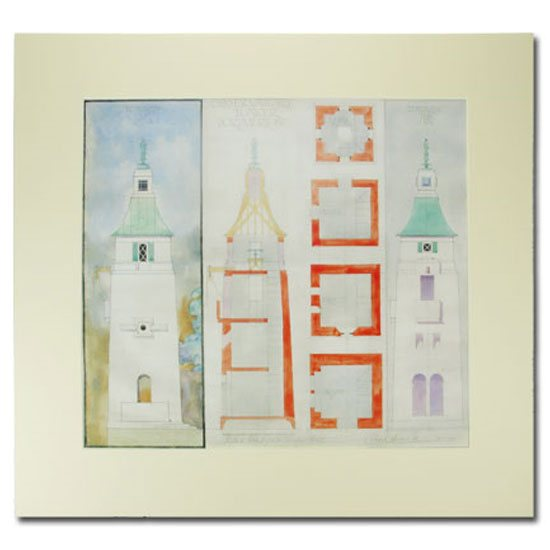 Portmeirion Observatory Tower Print, Portmeirion: Mounted Architectural Design by Clough Williams-Ellis