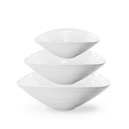 Portmeirion Sophie Conran for Portmeirion Set of 3 White Salad Bowls