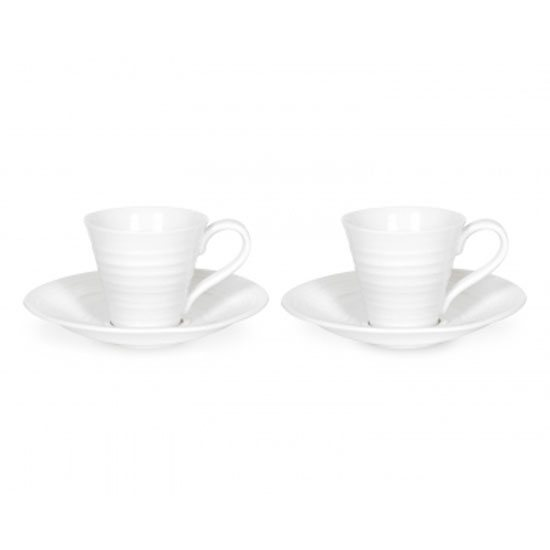 Sophie Conran for Portmeirion Sophie Conran for Portmeirion Set of 2 White Espresso Cups & Saucers