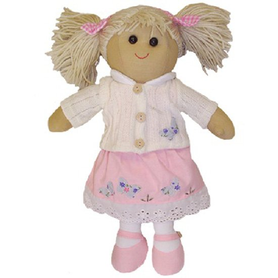 Powell Craft Rag Doll Pink Dress & White Cardigan 40cm