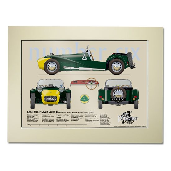 The Prisoner The Prisoner Lotus Super Seven Scale Drawing Mounted Print