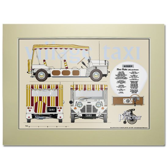 The Prisoner The Prisoner Village Taxi Scale Drawing Mounted Print