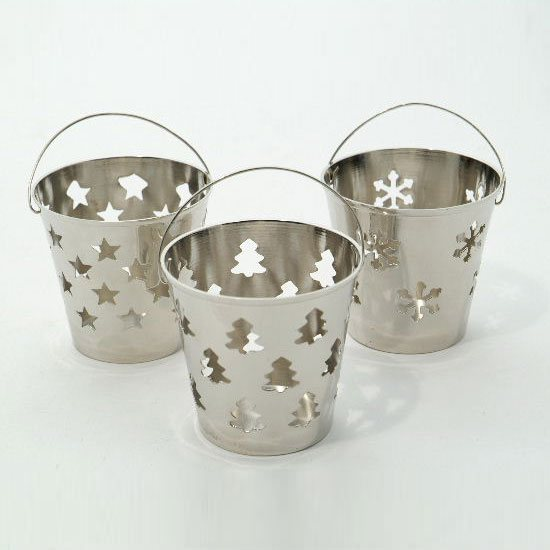 Bucket Style Christmas Tealight Candle Holder