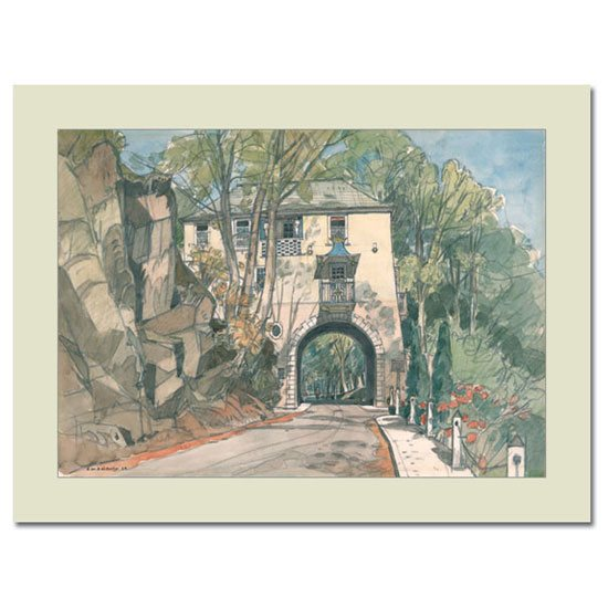 Portmeirion Cymru Gate House, Portmeirion: Mounted Fine Art Print by by F.W. Baldwin