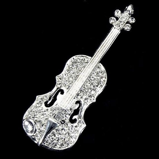 Music Brooch With Violin