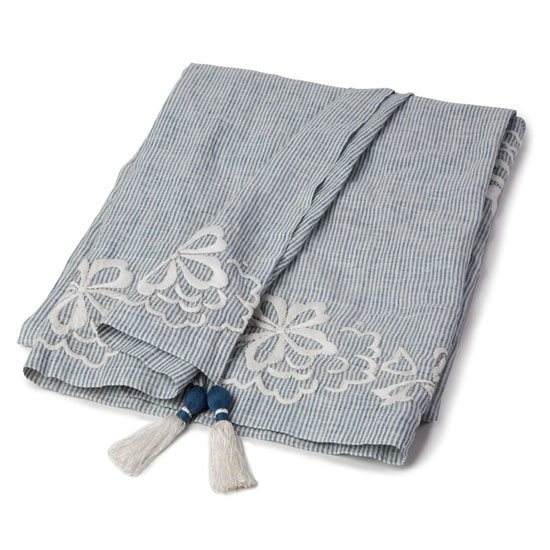 Lexington Lexington Country Linen Throw with Embroidery