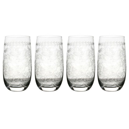 Portmeirion Botanic Garden Set of 4 Crystal High Ball Glasses