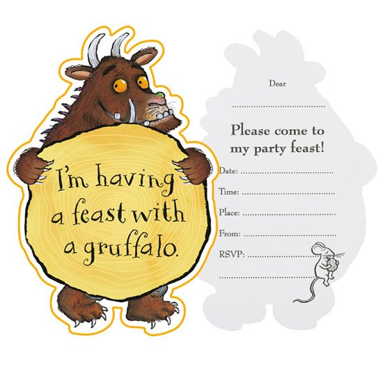 Pack of 10 The Gruffalo Party Invitation Cards