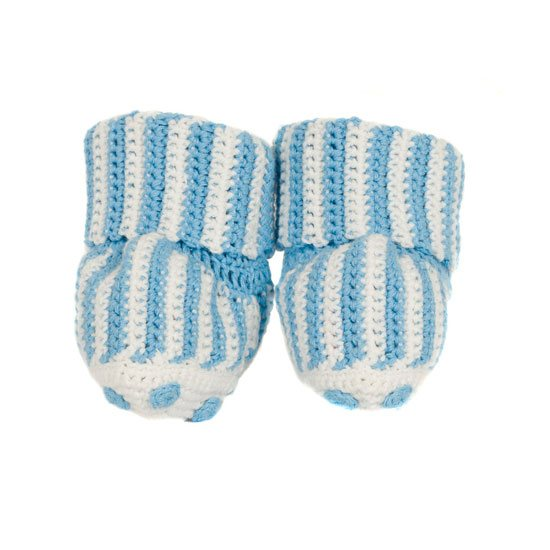 Blue Candy Stripe Baby Booties