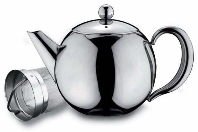 Grunwerg Cafe Ole Rondeo Stainless Steel Tea Pot with Infuser