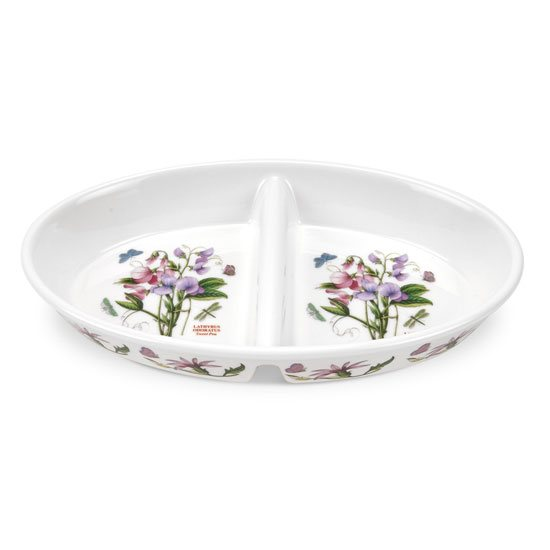 Portmeirion Botanic Garden Fire & Ice 11 inch Oval Divided Dish