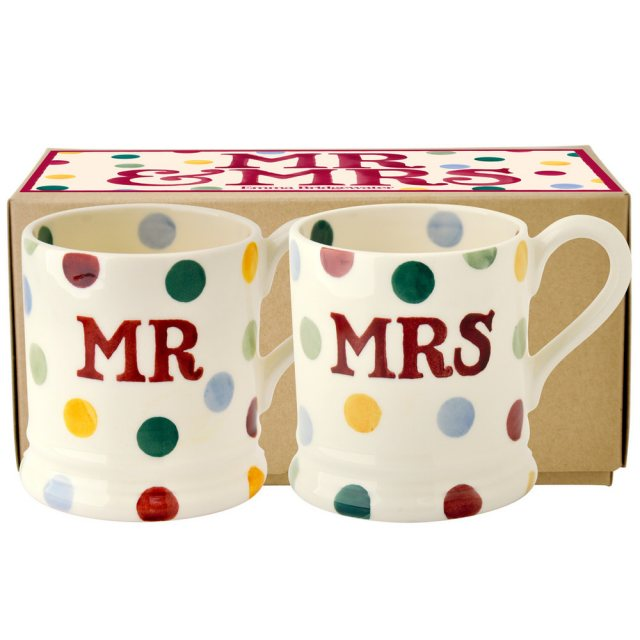 Emma Bridgewater Polka Dot Mr & Mrs 1/2 Pint Mugs
