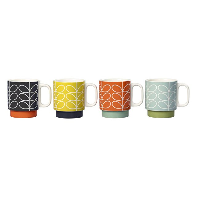 Orla Kiely Orla Kiely Linear Stem Ceramic Stacking Mugs