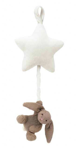 Jellycat Soft Toys Jellycat Bashful Beige Bunny Star Musical Pull