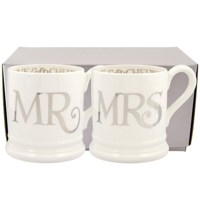Emma Bridgewater Emma Bridgewater Silver Toast Mr & Mrs set of 2 1/