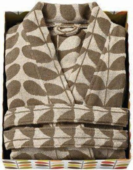 Orla Kiely Orla Kiely Stem Jacquard Bathrobe Cream/Nutmeg - S