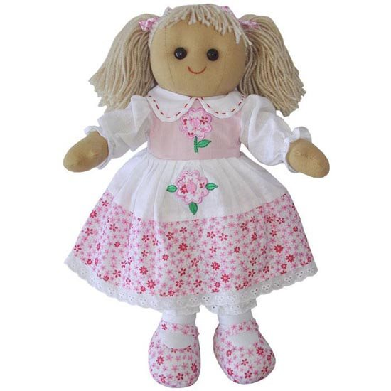 Powell Craft Rag Doll with Pink Floral Dress 40cm