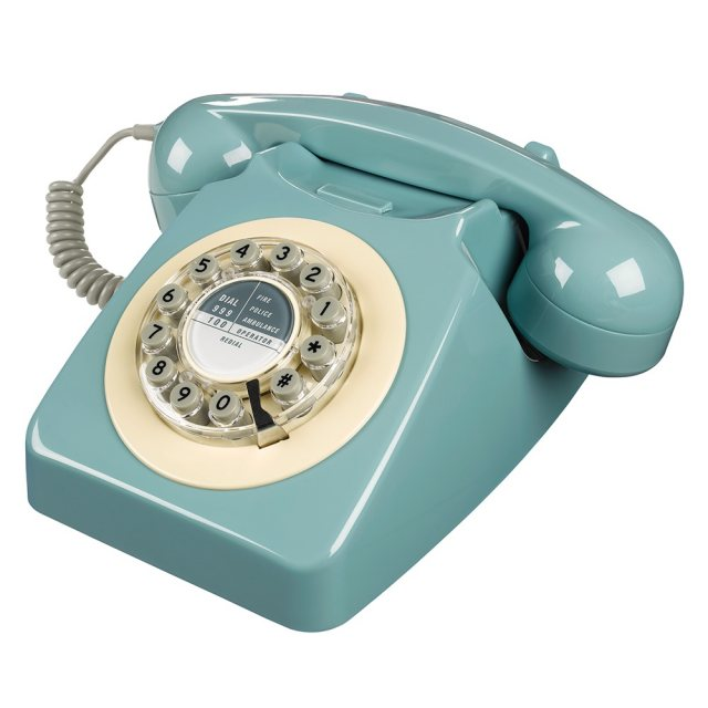 Wild & Wolf 1950's Retro Classic French Blue Phone