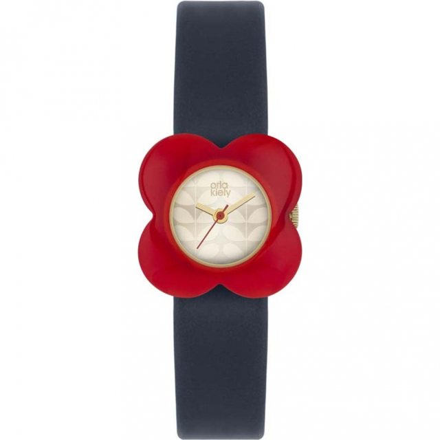 Orla Kiely Orla Kiely Poppy Red Flower Case Watch Navy Leather Strap